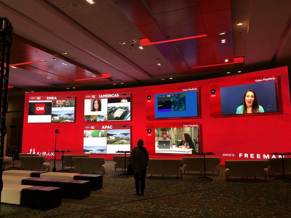event technology trends - 65-ft screen at the PCMA's Future of Face2Face area
