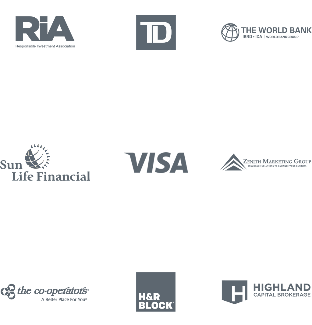 Our Client Logos Including: RIA, TD Bank, The World Bank, Sun Life Financial, Visa, Zenith Marketing Group, The Co-oporators, H&R Block, Highland Capital Brokerage