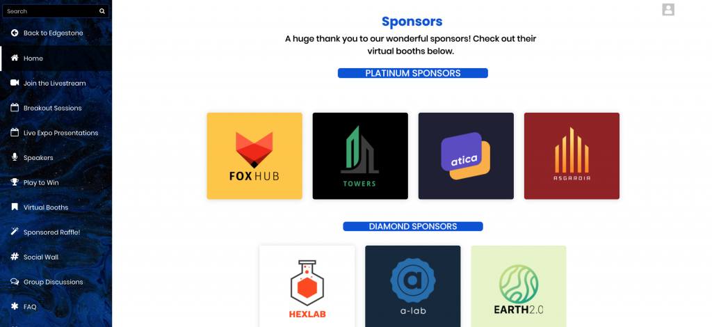 Examples of sponsor widgets in the EventMobi Virtual Event Space