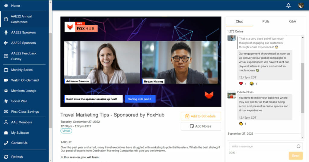 Event organizers are investing in professional, branded live stream production, as shown with the sponsored virtual conference webinar visible on screen in this image.