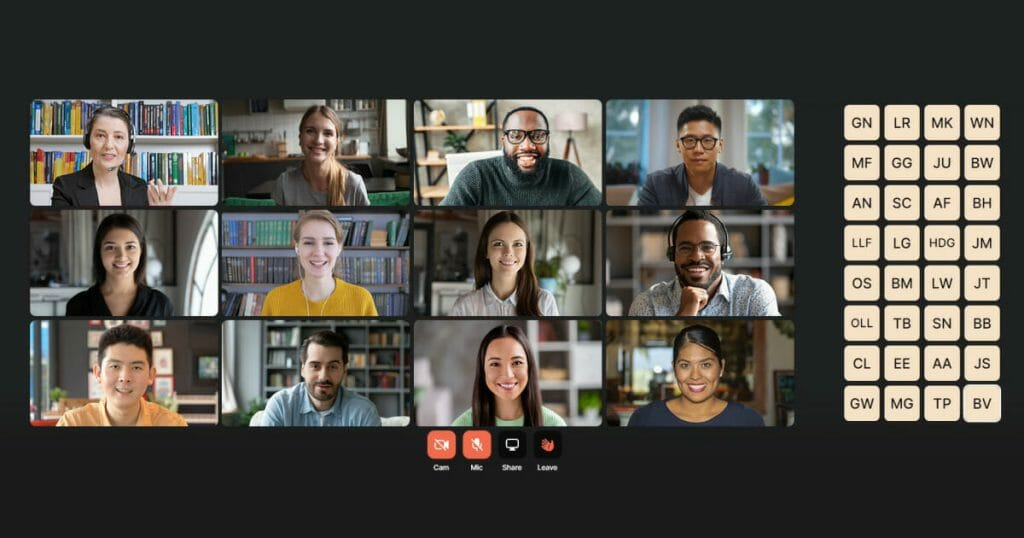 Using a video conference feature, virtual conference attendees meet face to face for a virtual meeting.