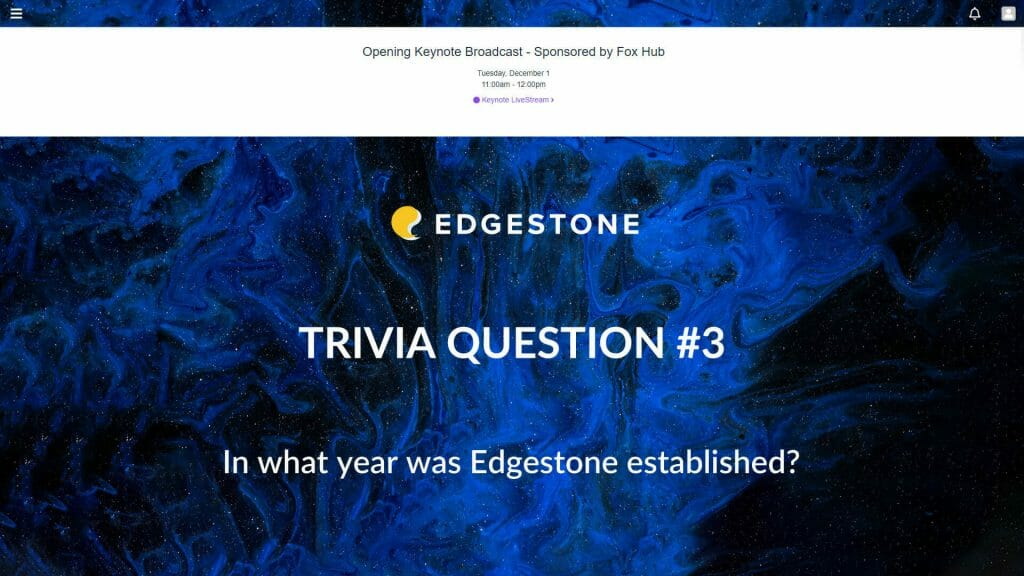 Ein Beispiel für eine Quizfrage, die bei Teilnehmern Informationen über einen virtuellen Event-Sponsor abfragt.