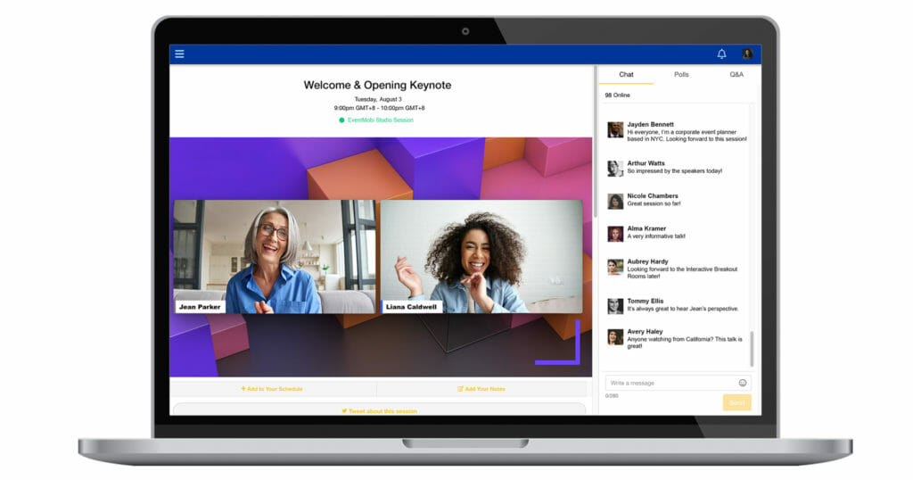 A branded live stream virtual conference session is showcased on an event platform with live chat.