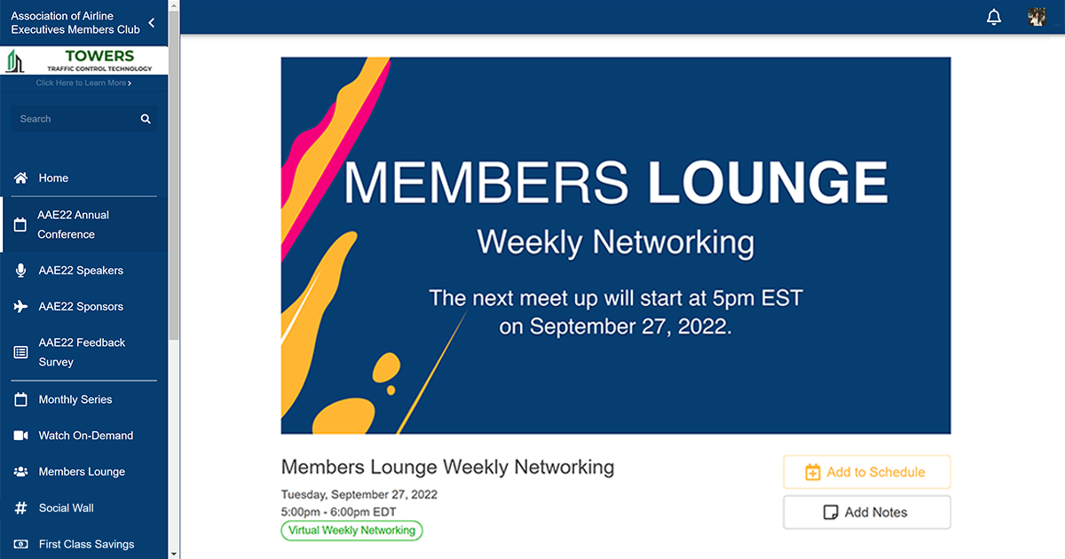 A 'Members Lounge' acts as a weekly networking hub for event community members on an event platform.